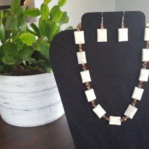 Handmade White Howlite & Sterling Silver Set
